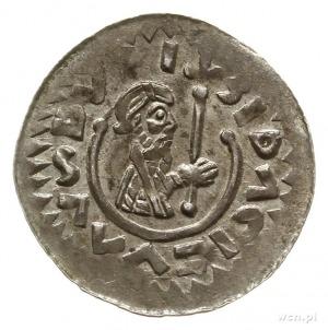 denar ok. roku 1092; Aw: Popiersie młodego księcia z kr...