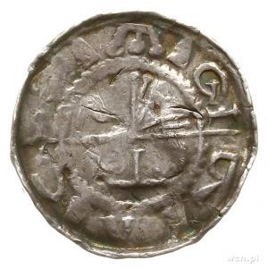 denar krzyżowy z krzyżem prostym; Aw: Chorągiew i napis...