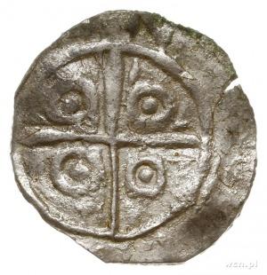 denar jednostronny typu princes polonie; Krzyż, w kątac...
