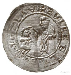 brakteat protekcyjny; Klęczący książę przed św. Wojciec...