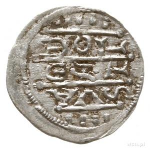 denar z lat 1157-1166; Aw: Cesarz siedzący na tronie na...