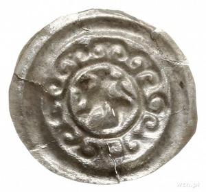 brakteat; Lew otoczony obwódką zwieńczoną siedmioma lil...