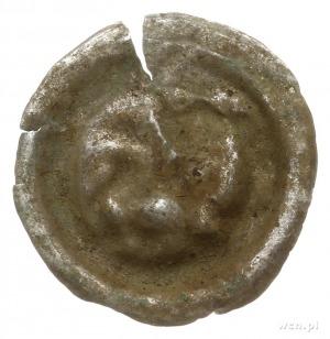 brakteat guziczkowy, koniec XIII w.; Lew idący w lewo z...