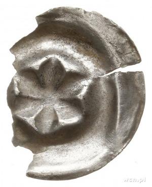brakteat guziczkowy, początek XIV w.; Rozeta sześciolis...