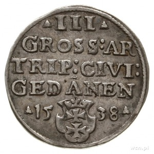 trojak 1538, Gdańsk, na awersie końcówka napisu PRVS; I...