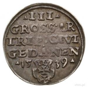trojak 1539, Gdańsk, na awersie końcówka napisu PRVSS; ...