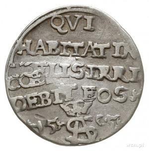 trojak szyderczy 1565, Wilno, Aw: Pogoń w lewo, pod nią...