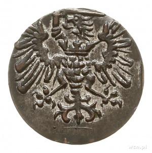denar 1573, Gdańsk, kartusz tarczy herbowej z 12 łukami...