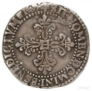 1/2 franka 1587 A, Paryż; Duplessy 1131; dość ładnie za...
