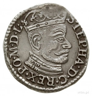 trojak 1582, Olkusz, duża głowa króla, Aw: STEPHA...; I...