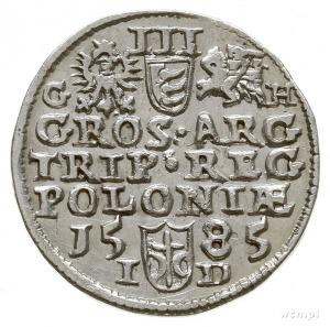 trojak 1585, Olkusz, odmiana z literą G-H obok Orła i P...