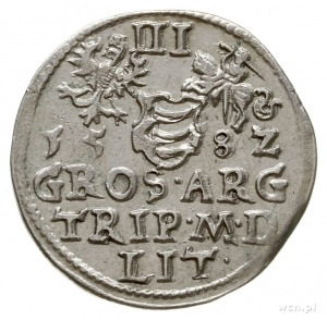 trojak 1582, Wilno, z herbem Leliwa na awersie pod głow...