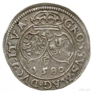 grosz 1580, Wilno, Aw: Głowa króla w prawo, w koronie i...