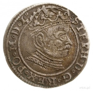grosz 1581, Ryga, odmiana z pełną datą na rewersie; Ger...