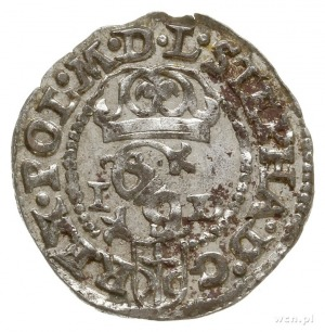 szeląg 1585, Olkusz, litery G-H po bokach korony na rew...