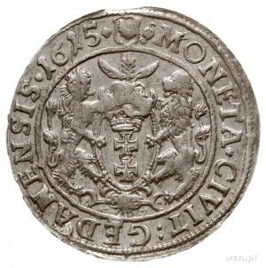 ort 1615, Gdańsk, odmiana z małą głową króla w szerokie...