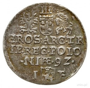 trojak 1592, Olkusz, mała głowa króla i skrócona data 9...