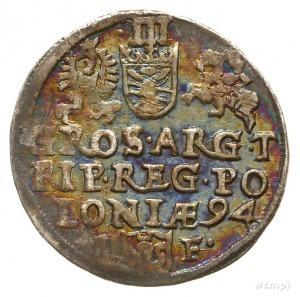 trojak 1594, Olkusz, znak ruszt kończy napis na awersie...