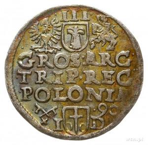 trojak 1590, Poznań, na rewersie litery I-D przedzielon...