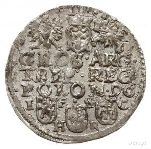 trojak 1596, Bydgoszcz, duża głowa króla, na rewersie l...
