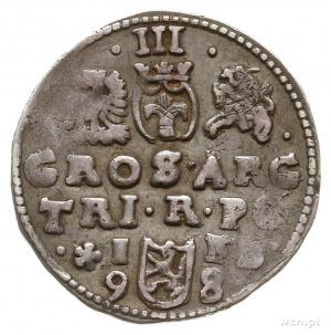 trojak 1598, Bydgoszcz, na rewersie z literami I-F B i ...