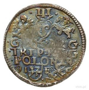 trojak 1595, Lublin, data na rewersie rozdzielona herbe...