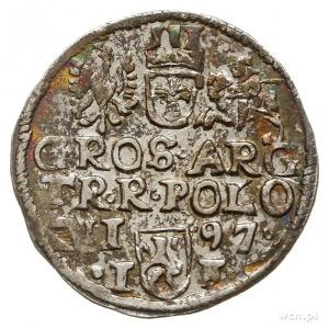 trojak 1597, Lublin, odmiana ze znakiem mincerskim i sk...