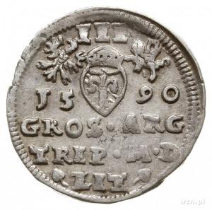 trojak 1590, Wilno, pod popiersiem króla herb Chalecki ...