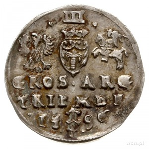 trojak 1596, Wilno, herb Chalecki i herb Prus na rewers...