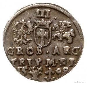 trojak 1598, Wilno, rzadko spotykane popiersie króla, d...
