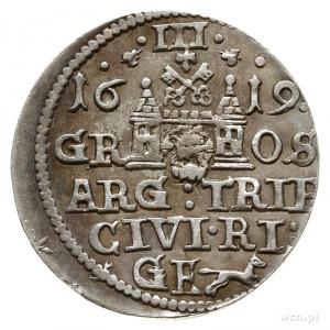 """trojak 1619, Ryga, z """"liskiem"""" na rewersie; Iger R.19.1..."""