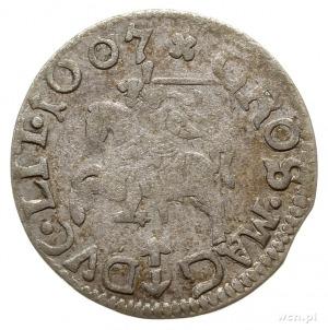 grosz 1607, Wilno, odmiana bez obwódek, herb Bogoria be...