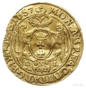 dukat, 1657, Gdańsk, Aw: Ukoronowane popiersie króla w ...