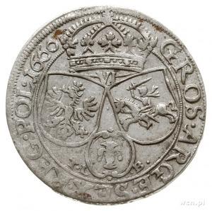 szóstak 1660, Kraków, na awersie IOAN CASI... i herb Śl...