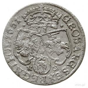 szóstak, 1661, Poznań, na rewersie litery N-G i łukowat...