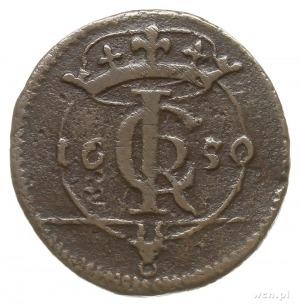 szeląg 1650, Wchowa, Aw: Monogram ICR, po bokach data 1...