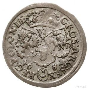szóstak 1681, Bydgoszcz, popiersie króla w płaszczu, li...
