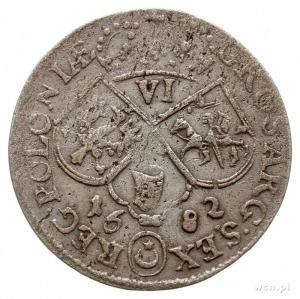 szóstak 1682, Kraków, popiersie w króla w koronie i zbr...