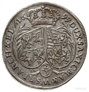 2/3 talara (gulden) 1699, Drezno, IL-H pod tarczami, ha...
