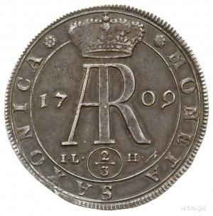 2/3 talara (gulden) 1708, Drezno, Aw: Popiersie króla, ...