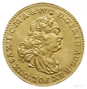 dukat 1745, Drezno, Aw: Popiersie w zbroi i napis, Rw: ...