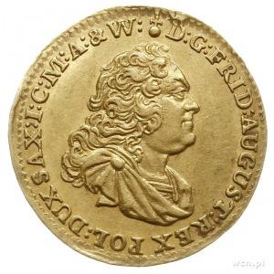 dukat 1750, Drezno, Aw: Popiersie w zbroi i napis, Rw: ...