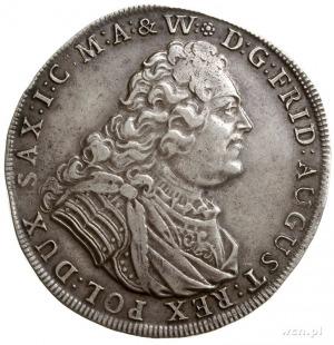 talar 1736, Drezno, Aw: Popiersie króla w prawo, Rw: Dw...