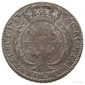 półtalar 1753, Lipsk, bez liter mincerza; Kahnt 678 - w...