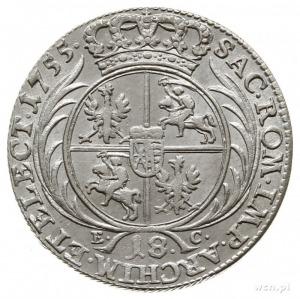 ort 1755, Lipsk; Kahnt 688 var. a - małe popiersie król...