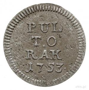 półtorak 1753, Lipsk, Aw: Tarcza herbowa, Rw: Napis PUL...