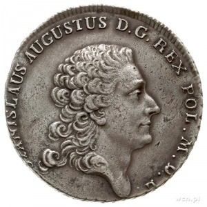 półtalar 1768, Warszawa, włosy króla bez przepaski, koń...