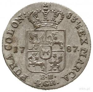 złotówka 1787, Warszawa; Plage 295; justowana na rewers...