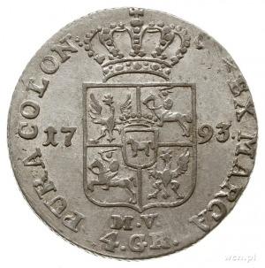złotówka 1793, Warszawa, odmiana z napisem 83 1/2; Plag...