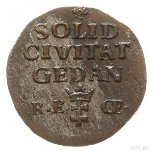 szeląg 1765, Gdańsk, korona nad monogramem średniej wie...